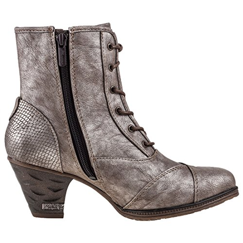 Titan Mustang Femmes Shoe Heel Bottines Metallic High 5R6qR8w