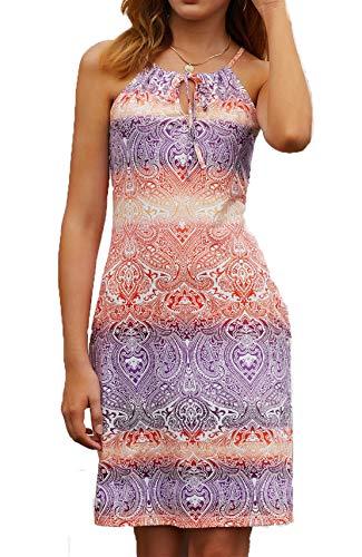 Happy Sailed Women Bohemian Sundress African Print Tie Dye Summer Sleeveless Shift Dress,Large Print 8