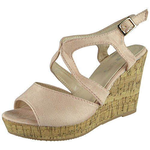 Loud Look Womens Ladies Platform Peeptoe Party Wedding Platform Shoes Wedge Sandals Sizes 3-8 Blue hoOBIH