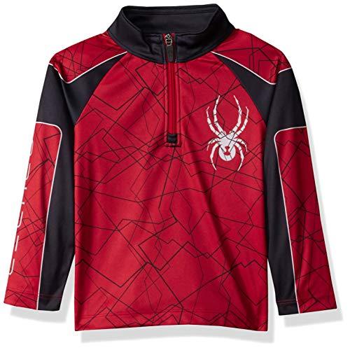 Spyder Boys' Mini Limitless Challenger Half Zip T-neck Shirt, Red/Black/Red, Size 5 ()