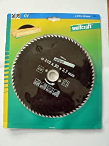 Wolfcraft–Hoja de sierra circular para madera, cromo vanadio acero, nº 20, con recubrimiento antiadherente, 210* 30.00* 2.7mm, 72dientes, 1pieza, Ref. 6281000