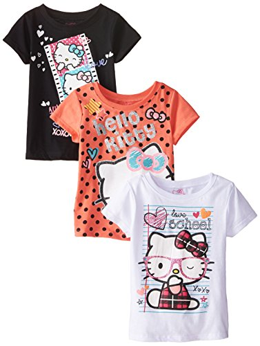 Hello Kitty Little Girls' Toddler Value Pack T-Shirts, Black/Orange/White, 2T