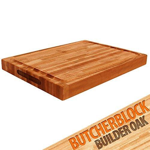 Cutting Board Builder Oak Butcher Block - Builder Oak wood edge grain reversible cutting board with juice moat - 24