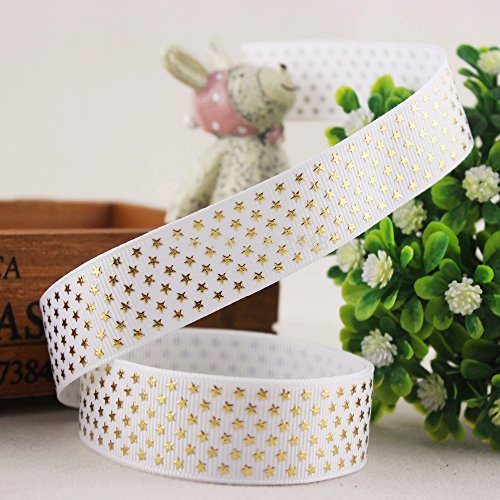 FunnyCraft 10 Yards 7/8'' 22Mm Stars Hot Gold Printed Grosgrain Ribbon Diy Handmade Materials Accessories Gift Wrap Ribbon