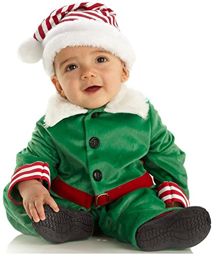 Underwraps Costumes Baby Boy's Elf Boy, Green/White/Red, Small (6-12 Months)