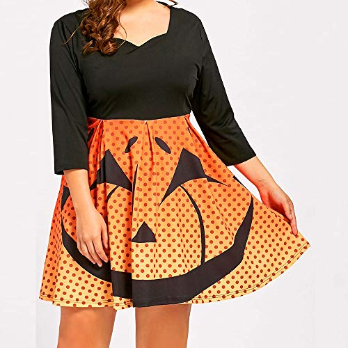 VIASA_ Women's Halloween 3/4 Sleeve Pumpkin Print A Line Dress Party Pumpkin Print V Neck Casual Loose Mini Dresses(XL-5XL)]()