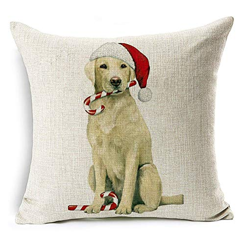 Acamifashion Christmas Dog Santa Claus Reindeer Cushion Cover Throw Pillow Case Home Sofa Decors (#16 Labrador Retriever) ()