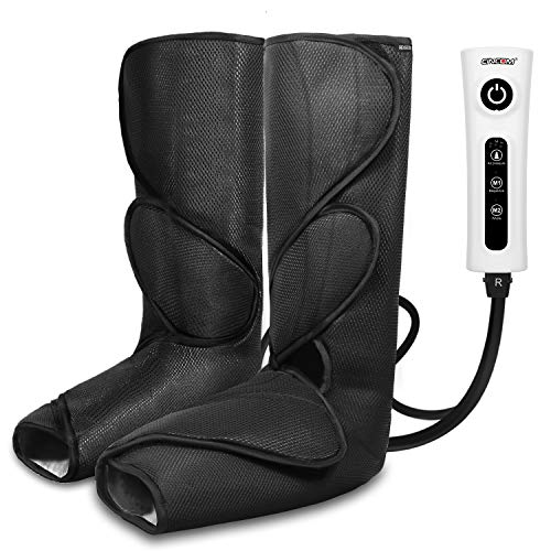 CINCOM Leg Massager for Foot Calf Air Compression Leg Wraps with Portable Handheld Controller - 2 Modes & 3 Intensities (Black) (Compression Messagers)