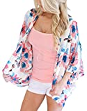 Chunoy Women Casual Spring Kimono Half Sleeve Chiffon Short Cardigan Red Small