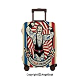 Luggage Cover Suitcase Protector,Nostalgic Icon The Strong Man with Tattoos and Muscles Circus