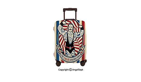 Fashion Travel Suitcase Protector Zipper,Nostalgic Icon the Strong Man with Tattoos and Muscles Circus Star Fun Beige Red Blue,26x37.8inches,Washable Print Luggage Cover