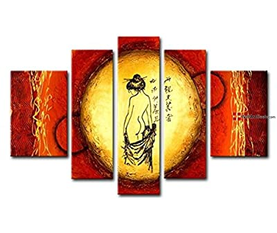 Art Deco Framed Gold and Orange Asian Figure Wall Art Oil Painting 5 Piece