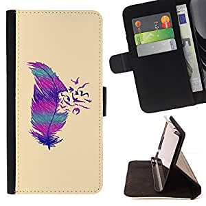 ABSTRACT DEEP MINIMALIST FEATHER BIRDS/ Personalizada del estilo del dise???¡Ào de la PU Caso de encargo del cuero del tir????n del soporte d - Cao - For Samsung Galaxy S6 EDGE