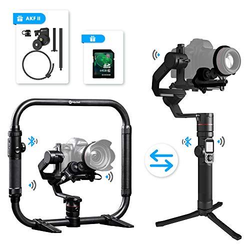FeiyuTech Feiyu AK4000 3 Axis DSLR Gimbal Stabilizer, Dual Handheld KIT, w/Ring-Style Grip Handle and Follow Focus II, 8.8 lbs Max Load, Compatible with Canon EOS Series, Nikon & Sony Series DSLR Came - Eos Rebel Series