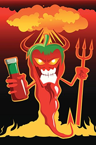 Chili Devil Red Chili Pepper Explosion Illustration Art Print Poster