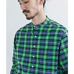 Scye Basics Plaid Grandad Collar Shirt 5120-31507: Kelly