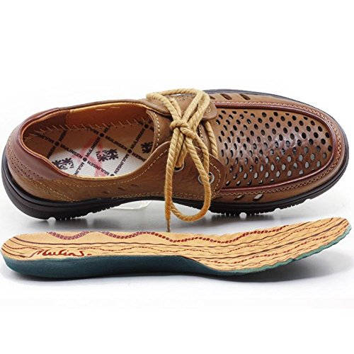 Brown Infradito Estate Uomo Gli per con Casual Pelle da Punta Scarpe Business Giallo E Arrotondata Casual Stringate Uomini Color in AqZpwH5W