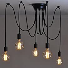 E27 Creative Edison Chandelier Antique DIY Chandelier 5 Heads Lamps Vintage Industrial Ceiling Lamp Pendant Light Fixture Retro Industrial Dining Hall Bedroom Hotel Home Lighting Accessories