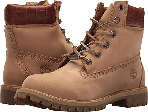 Timberland Kids Unisex 6'' Premium Waterproof Boot (Big Kid) Iced Coffee Waterbuck/Exotic Collar 4.5 Big Kid M by Timberland