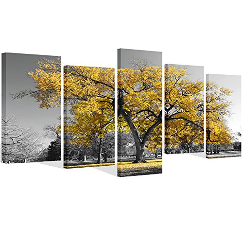 Visual Art Decor 5 Pieces Canvas Painting Prints Large Autumn Yellow Tree in Black and White Fall Landscape Home Office Wall Decoration Framed Wall Decor Artwork (01 ()