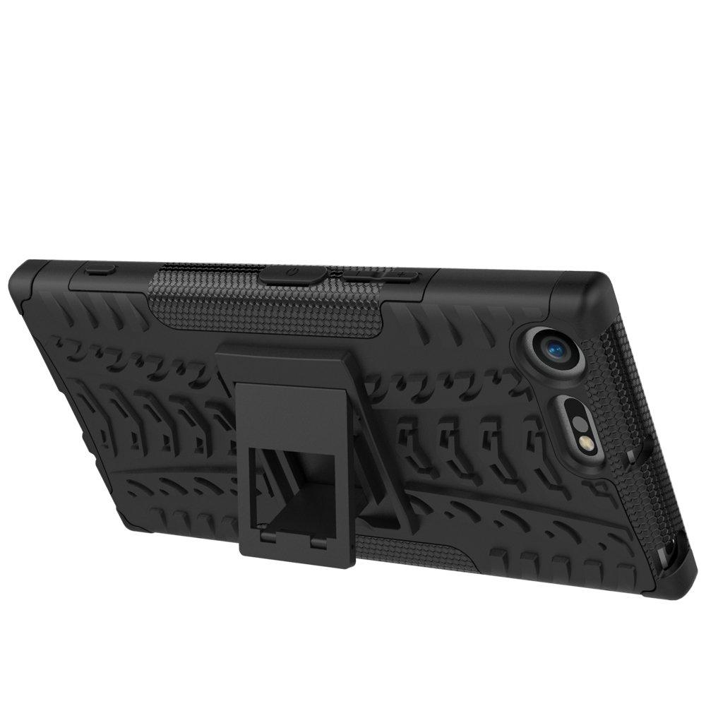 MRSTER Custodia per Sony Xperia XZ Premium Staccabile Ammortizzante Motivo Pneumatici Protezione Estrema Resistente 2 in 1 per Sony Xperia XZ Premium. con cavalletto