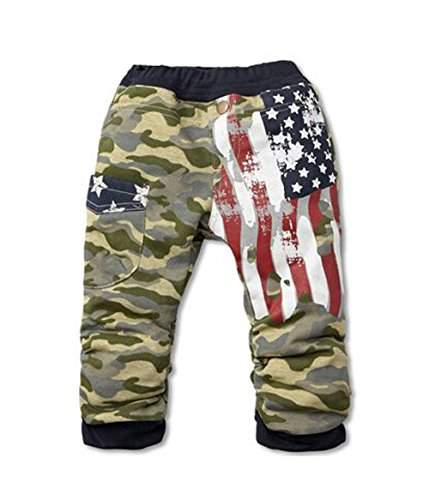 stylesilove Kids Boy Camouflage American Flag Cotton Pants (90/2-3 Years, Red)