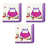 Owl Blossom Party Lunch Napkins - 48 Pieces