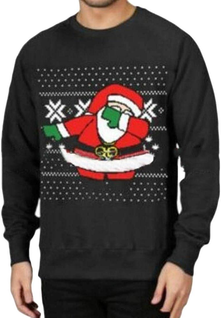 Smallwin Men Pullover Christmas Round Neck Long Sleeve Top Print Sweatshirts