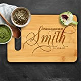 Lily's Atelier Custom Engraved Bamboo Cutting Board - Wedding, Anniversary, Housewarming, Birthday, Corporate Gift and for Awards - Customizable, Personalized Date, Name and Last Name - JBD3