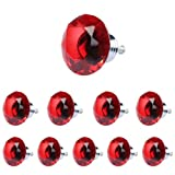 Pack of 10 Diamond Shape Crystal Glass Drawer Cabinet Pull Knob Handle 40mm (Red)