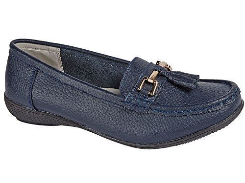 Ladies Nautical Leather Smart Loafer Tassel Moccasin Flat Slip On Comfort Shoe Size 3-8 Navy XXUuvM