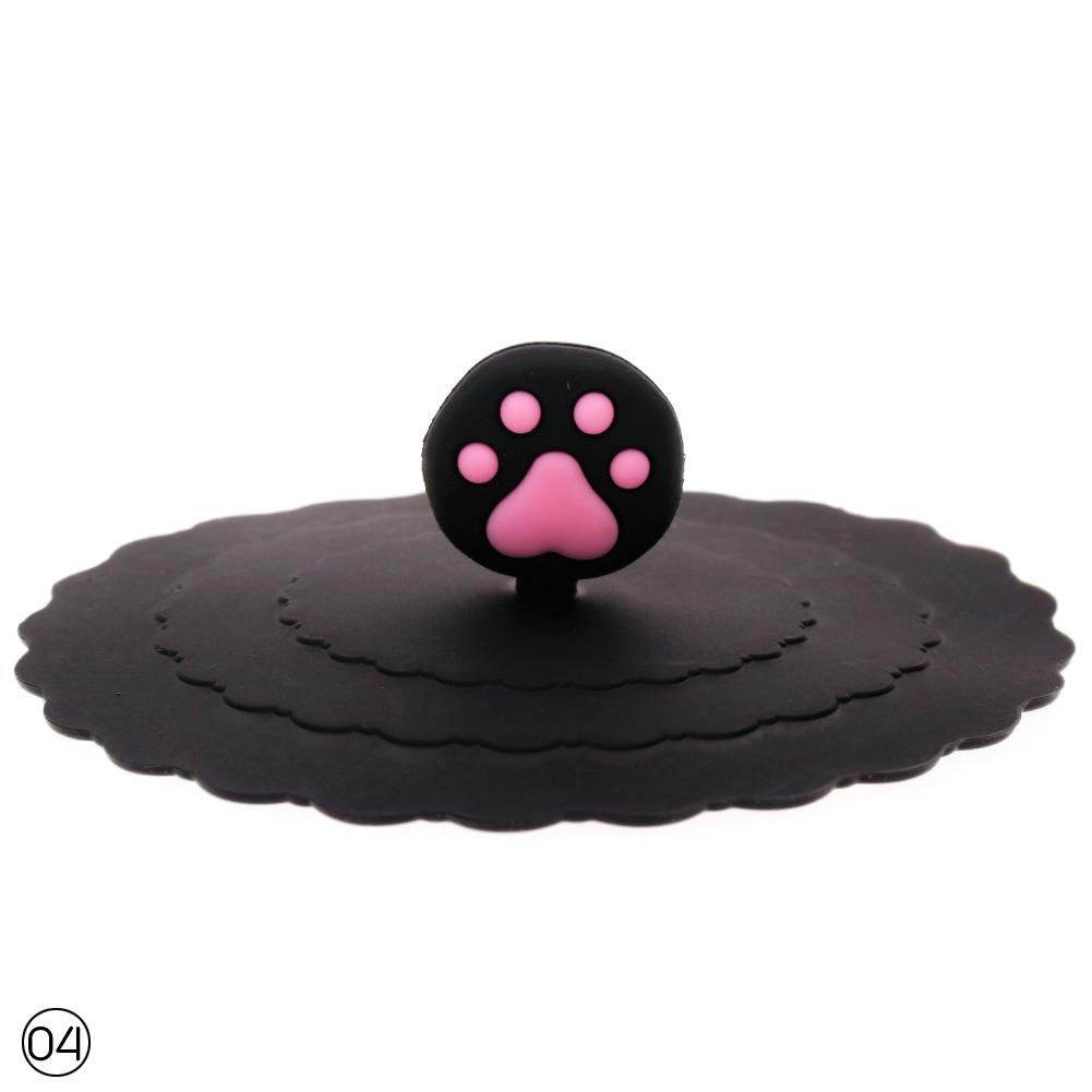 WXLAA Anti-dust Fruit Cat Paw Cup Cover Coffee Mug Lid Suction Leakproof Black
