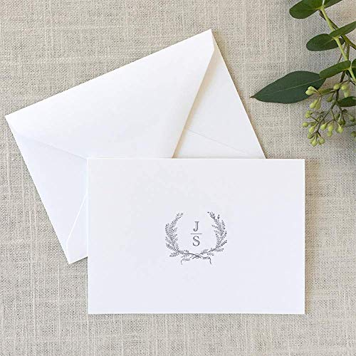 Laurel Wreath Note Cards, Monogrammed Stationary, Folded Notes ()