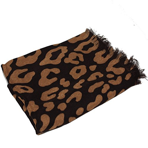 Gucci GG Leopard Print Brown / Tan Brown Multicolored 70x190cm - Discount Outlet Gucci