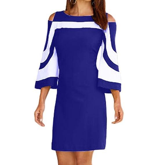 Cinnamou Vestidos camiseros mujer tallas grandes Bodycon Raya Vestido para Mujer Pullover Corto Largo Moderno Sin