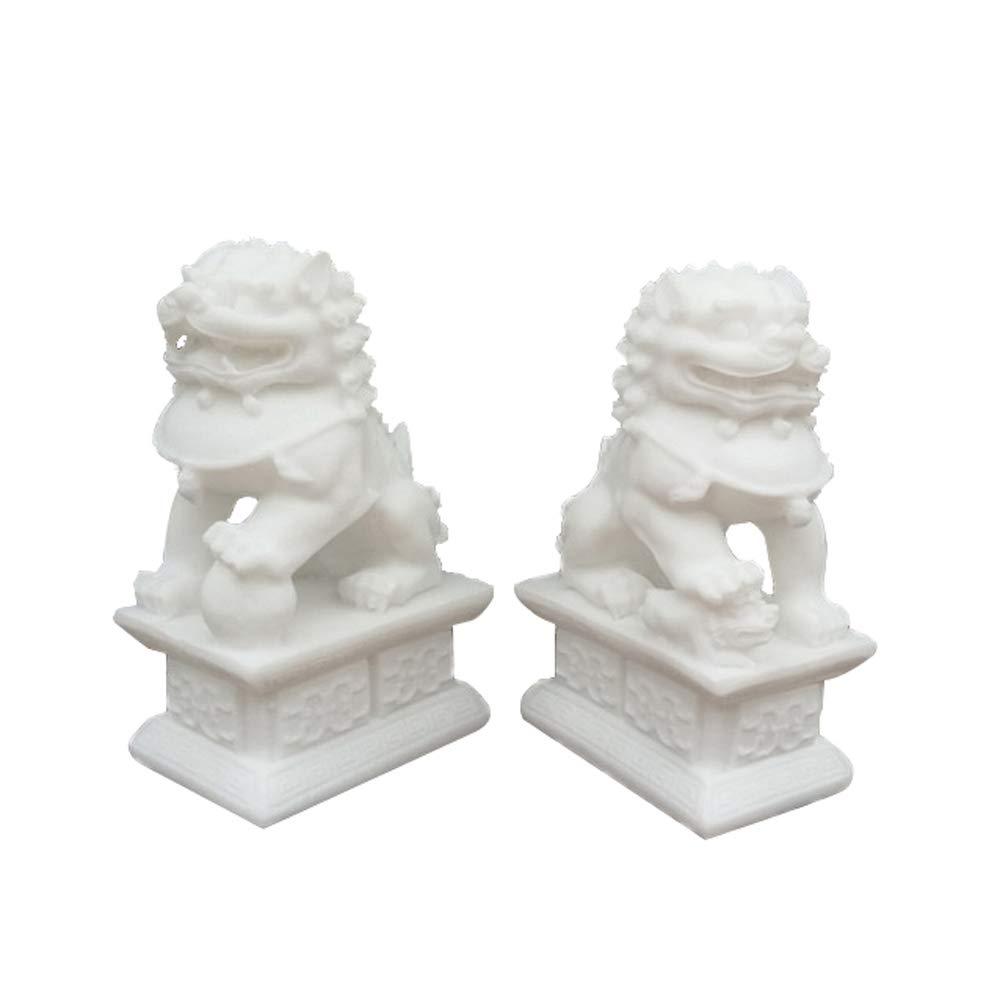 Un par de estatuas de los Guardianes de Piedra Blanca Tres tama/ños,Small Par de Fu Foo Decoraci/ón de Feng Shui Chino para el hogar y la Oficina Atraen Riqueza y Buena Suerte Leones de Beijing