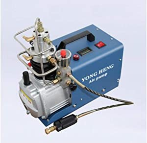 Yong Heng Adjustable Auto-stop & Simple 110v Electric Air compressor pump high pressure up to 300BAR 4500PSI 30MPA for Airgun cylinders, Air Rifle tanks, Scuba, and Paintball (Adjustable Auto-Stop)