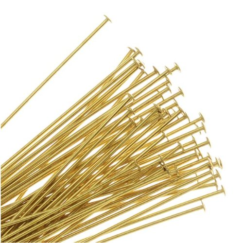 Beadaholique Head Pins, 1.5 Inches Long and 22 Gauge Thick, 50 Pieces, Gold Tone Brass