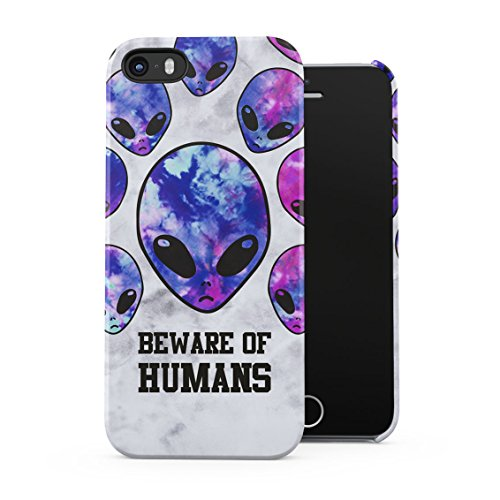 Beware Of Humans Trippy Chill Purple Aliens Tumblr Plastic Phone Snap On Back Case Cover Shell For iPhone 5 & iPhone 5s & iPhone SE