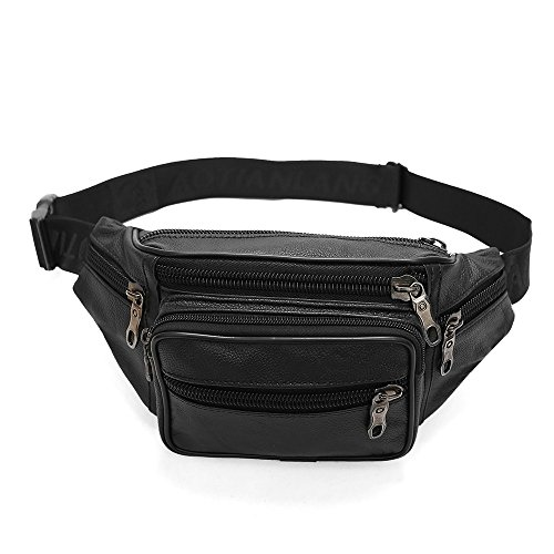 Fanny Pack, HIMI Genuine Leather Waist Pack Waterproof Bum Bag With 6 Pockets-Adjustable Strap Waist Bag for Unisex/Running/Hiking/Travel - Black