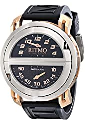 Ritmo Mundo Men's 201/2 SS RG Quartz Persepolis Triple Time Zone Orbital Case Watch
