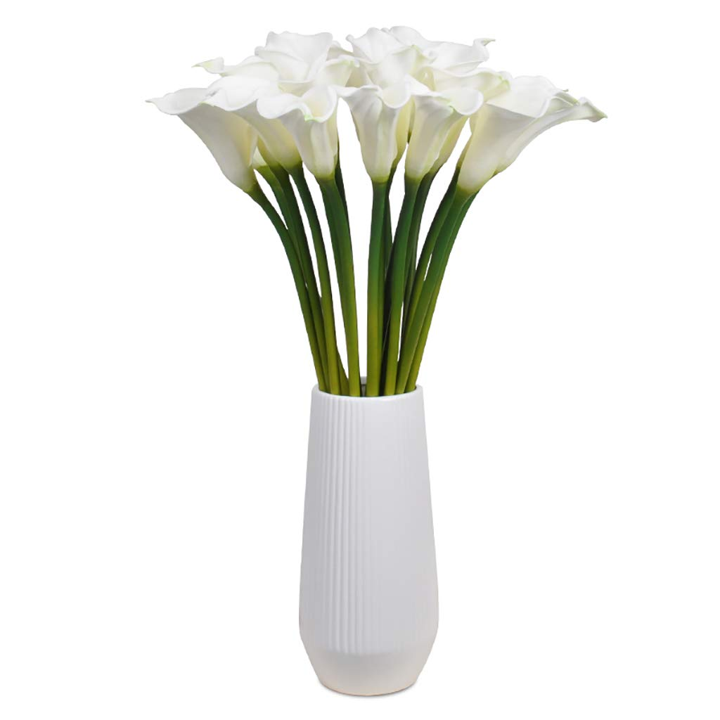GWM 人工花、偽のリアルタッチの花シルクプラスチック、カラリリー、ホームガーデンパーティー結婚式の装飾、工芸品ギフト、白 B07J4K3162
