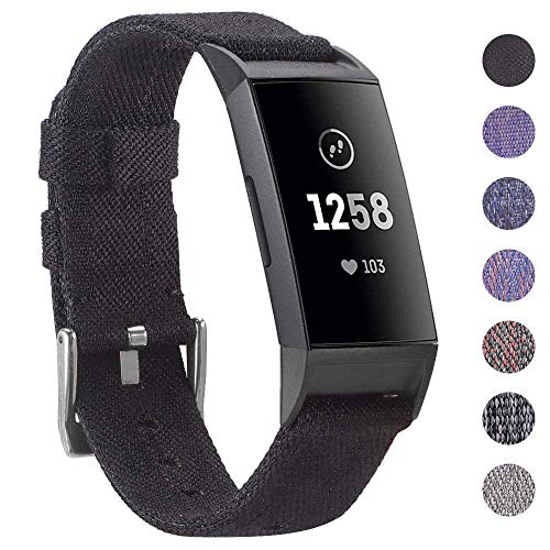 EZCO Compatible with Fitbit Charge 3 Bands, Woven Fabric Breathable Watch Strap Quick Release Replacement Wristband Accessories Man Woven Compatible with Charge 3 / Charge 3 SE Fitness Smart Watch