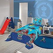 Jogo de Cama Microfibra Solteiro Estampado Patrulha Canina Menino 1,40 m x 2,20 m Com 3 peças, Lepper, Blue