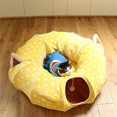 Rziioo Paso De Gato Nido De Gato Túnel De Gato Descanso Y Juego Zona De Juegos Multifunción Juguetes De Gato Plegables Y Lavables,Yellow,2: Amazon.es: Hogar