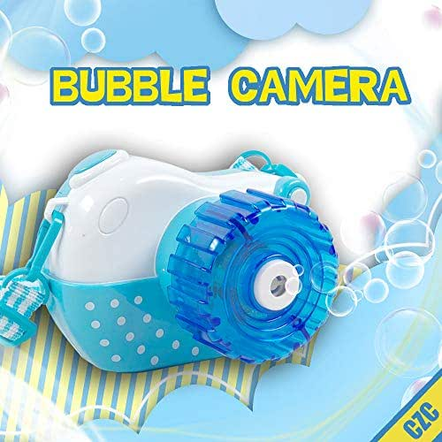 CZC Bubble Machine Toy Bubble Camera Maker Machine Automatic Bubble Blower with Light and Music for Children (Blue)