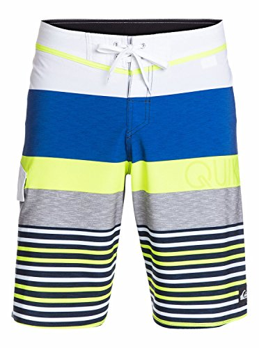 Quiksilver Men's Lean and Mean Traceable Recycled 4 Way Stretch Boardshort, Lean/Mean White, 34