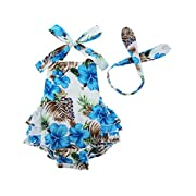 Fubin Baby Girl's Floral Print Ruffles Romper Summer Clothes With Headband,Blue Flower1,0-6 months