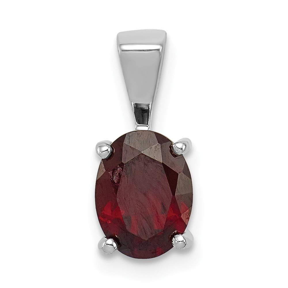 Diamond2Deal 925 Sterling Silver Rhodium Plated Garnet Pendant