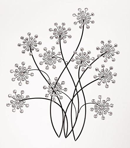 Deco 79 Black Metal Wall Decor with Ivory Colors Glass Pieces